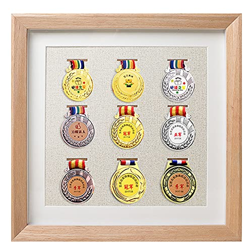ABCSS Marco de exhibición de medallas de Madera Maciza,Expositor de medallas,Caja de Almacenamiento de medallas,Marco de Fotos de medallas de maratón,Marco de exhibición de Insignias
