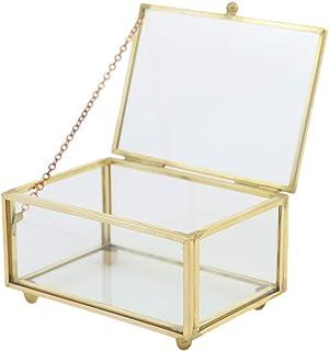 Jingdu Boîte à bijoux rectangulaire en verre transparent avec couvercle supérieur incliné - Boîte à bijoux vintage - Boîte...