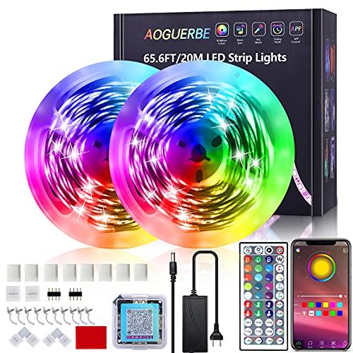 AOGUERBE Luces LED 20M, Tiras LED con Controladas por APP, IR Control Remoto, Modos de Música y Micrófono, Tira de Luz Apto para Salón/Fiestas/Bares/Dormitorio, Luces de Colores para Habitación