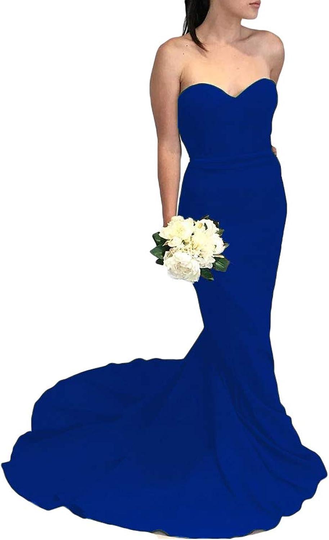 Liyuke Women's Mermaid Prom Dresses Strapless Satin Sweep Train Evening Dress