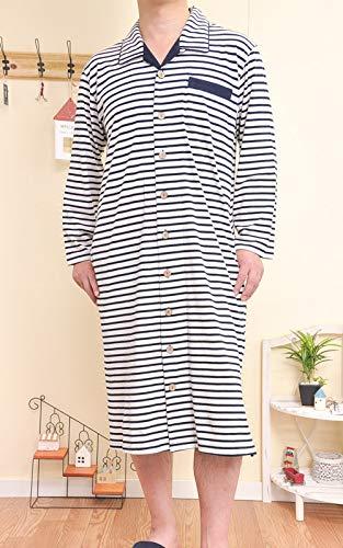 [ケーズアイ] 綿100% 天竺ニット地ベージュミックス メンズ スリーパーパジャマ 長袖 前開き シャツワンピース L ネイビー