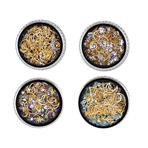 Nagelkunst-Dekoration, 4 Stück, gemischte Nagelperlen mit Aufbewahrungsbox, Nagelkunst-Zubehör, Maniküre, Nagelverzierung