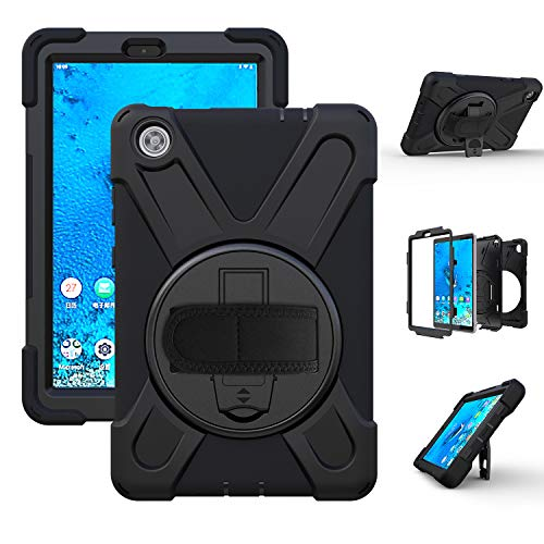 Case for Lenovo Tab M8, 360 Rotating Heavy Duty Three Layer Armor Shockproof Rugged Protective Cover for Lenovo Tab M8 8 Inch with Kickstand, Black