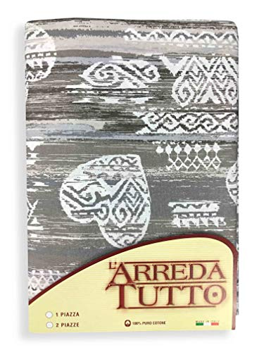 Tex family Tissu d'ameublement grand foulard, couvre-lit, couvre-canapé, tissu mexicain, taupe, pour lit 1 place