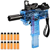 UZI SMG Pistola de juguete eléctrica Burst Soft Bullet Boys Toy Guns Transparente Sub-ametralladora Alta Velocidad Larga Alcance Esponja Niño Juguete (B - Azul)