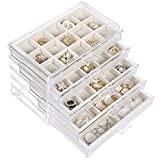 misaya Earring Jewelry Organizer with 5 Drawers, Birthday Gift, Clear Acrylic Jewelry Box for Women, Velvet Earring Display Holder for Earrings Ring Bracelet Necklace, Cream