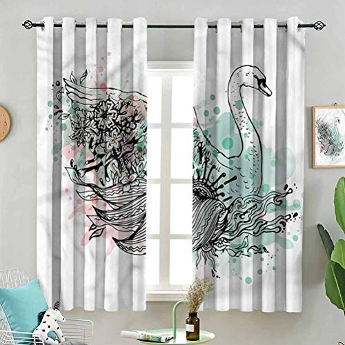 Dasnh UV Blockout Curtain Panels Sketchy Swan Watercolors W72 x L63 Inch (2 Panels) for Children Kids Room