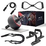 shine future Roue AB Roller, 8 Pcs AB Wheel Roller Kit, 5 en 1 Core Strength & Abdominal Trainers Ensembles d'équipement d'entraînement d'entraînement Parfait pour la Gym à Domicile