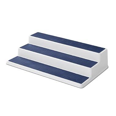 Copco 5224646 Non-Skid 3-Tier Spice Pantry Kitchen Cabinet Organizer, 15-Inch, White/Blue