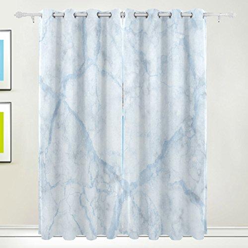 Rideau de fenêtre, 2 panneaux de luxe en marbre Impression Isolation thermique épais Super Doux Tissu de polyester Décoration de maison avec oeillet pour chambre à coucher Salon de salle de