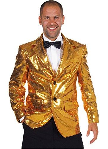 Paillettenblazer Paillettenjacket Paillettenjacke Show Revue Musik Silber oder Gold (XL, Gold)