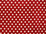 ab 1m: Baumwollstoff mit Punkten, 0,8cm, rot, ca. 135cm