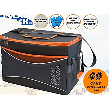 POLAR PACK Extra Large 48 Can Collapsible Cooler Bag Soft Portable Insulated Picnic Bag Outdoor Indoor Travel Lunch Bag for Camping Hiking Events School Travel Concerts & Sports (Black/Char/Orange)