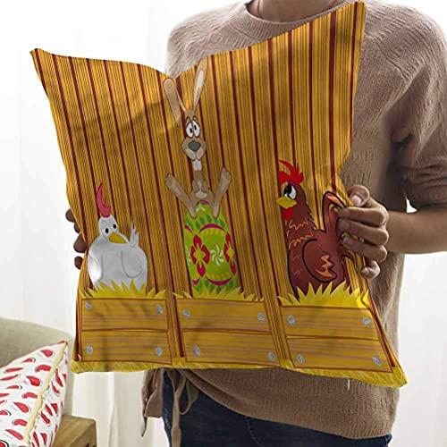 N\A Funda de Almohada de Tiro de Pascua Conejo de Dibujos Animados en Henhouse Funda de cojín Cuadrado Suave