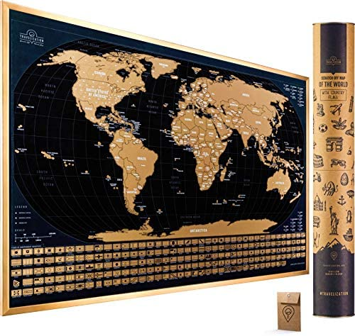 Scratch Off Map of The World with Flags 24 x 17 Easy to Frame Scratch Off World Map Wall Art product image