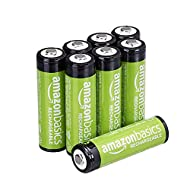AmazonBasics AA Rechargeable Batteries (2000 mAh), Pre-charged - Pack of 8 (Appearance may vary)