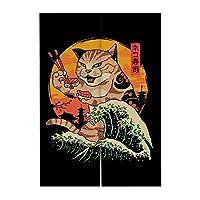 和風レストランキッチンドアカーテンラーメン寿司テーマハンギングカーテン、31.5 x51.2インチ[E]