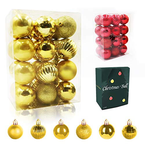 WEYON 24PCS Christmas Ball Ornaments 2.36'- 6 Types Shatterproof Christmas Tree Decorations Hanging for Holiday Wedding Party (Gold)