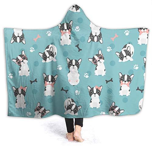 321DESIGN I Love French Bulldog Wearable BlanketFleece Hooded Robe Cloak Throw Quilt Poncho Microfiber Sherpa Plush Warm Wrap Multiple-Size Teen Size 60 x 50 Inch
