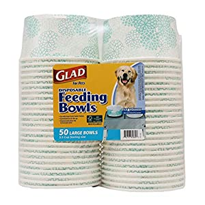 Glad for Pets Disposable Feeding Bowls | Large Dog Bowls in Teal Pattern | 3.5 Cup Feeding Size, 50 Count – Dog Bowls are Great for Dry and Wet Dog Food or Water (FF11350)