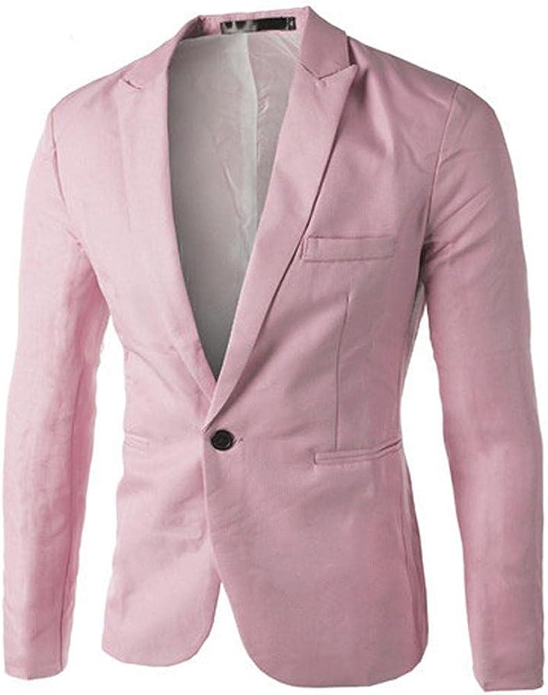 Men's Slim Fit Lightweight Coat One Button Suit Blazer Jacket Tops Tailored Sport Coat