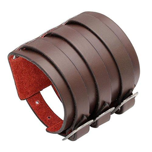 Milakoo Punk Gothic Herren Echtes Leder Armband Manschette Armreif 7,5