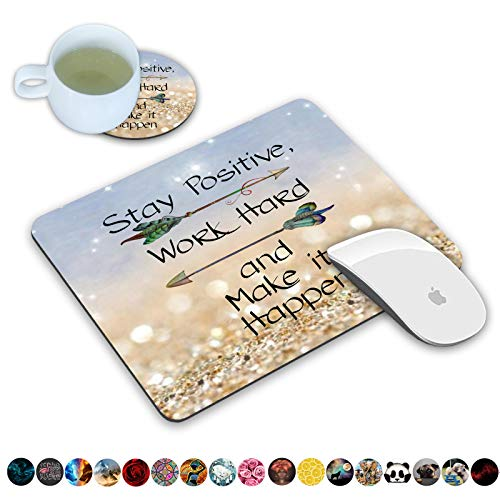 LOWORO Mouse Pad and Coasters Set, Stay Positive Work Hard and Make It Happen Inspirational Quote Mouse Pad, Non-Slip Rubber Base Rectangle Mouse Pads for Laptop and Computer