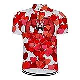 Maillot De Ciclismo Para Hombre Manga Corta,Verano Transpirable Secado Rápido Impreso Rojo Amor Corazón Flamenco Camisa De Ciclismo De Montaña Jersey De Ciclismo, Cremallera Completa Mtb Biciclet