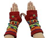 RW Hand Knit 100% Wool Fleece Lined Hand Warmer/Glove (Red)