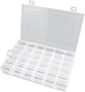 Rekukos Plastic Jewelry Box Organizer Storage Container with Adjustable Dividers 36 Grids (Clear)