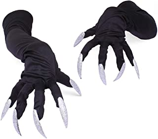 Halloween Long Nails Gloves Witch Cosplay Costume Party Adult Fancy Props Black