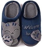 ChayChax Zapatillas de Estar por Casa Lindo Animados para Niños Mujer Hombre Invierno Pelusa Forro Pantuflas Interior de Memoria Espuma Cómodo Caliente Zapatos de Algodón, Azul, 35/36 EU