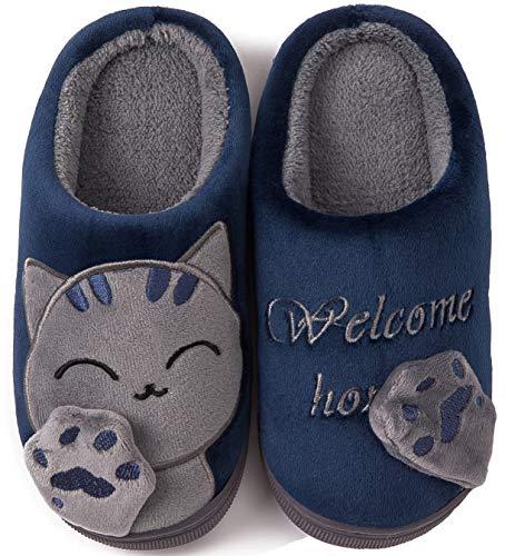 ChayChax Carino Cartone Animato Pantofole da Casa Bambini Uomo Donna Inverno Peluche Ciabatte Interne Suola di Memoria Confortevole Caldo Scarpe di Cotone Invernale, Blu, 31/32 EU