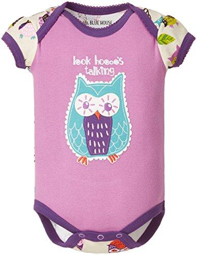 Hatley Little Blue House by Infant Envelope Neck One Piece - Party Owls - Body Bébé Fille, Violet (Purple) - 6-12 Mois (Taille Fabricant: 6)