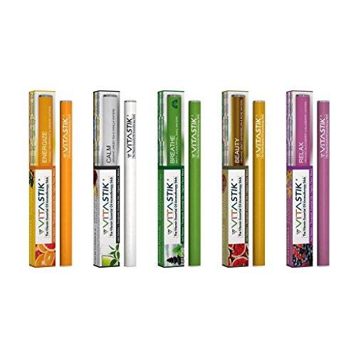 VitaStik Original 5Pack–50% Discount Pack–Die Essbar Bio Vitamin ätherisches Öl Diffusor Aromatherapie Stick, bekannt seit 2014–Vitamin C und B12Inhalator
