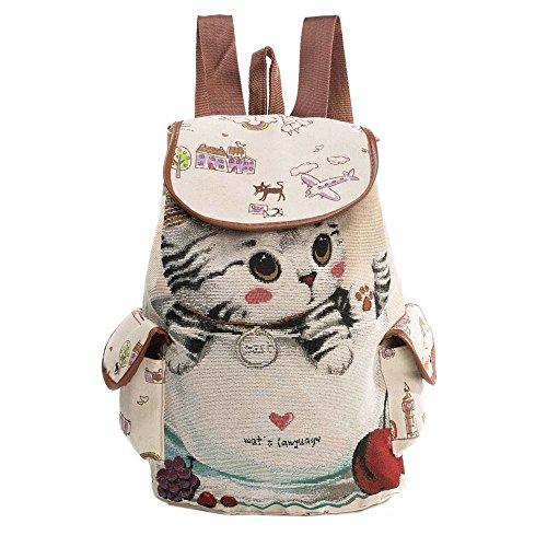 Longra donne a strisce borsa tracolla zaino spesa borsa da viaggio gatto napping (Bianca)