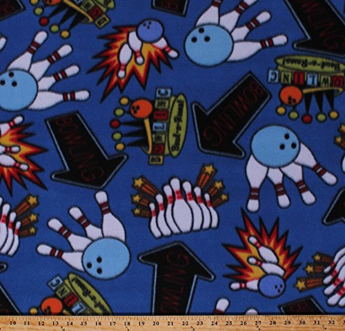 Fleece Bowling Pins Balls Vintage Bowling Alley Signs Blue Fleece Fabric Print by The Yard (4902M-12A-blue)