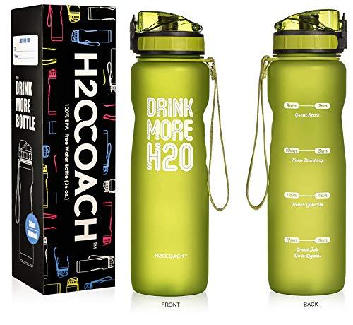 H2OCOACH Motivational botella de agua con marcador de tiempo, medidas sin BPA, grande 1,0 l, 36oz, Verde