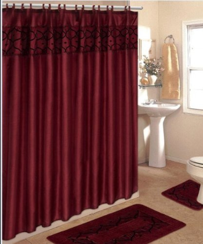 4 Piece Bathroom Rug Set/ 2 Piece Burgundy Flocking Bath Rugs with Fabric Shower Curtain and Matching Mat/Rings