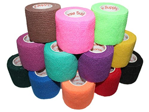 2 inch Medical Wrap Tape Bulk, FDA Approved Self Adherent Adhering Adhesive Stick Power Grip Cling Flex Bandage Rap - 2 inches x 15 Feet - 12 Rolls Assorted Colors