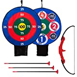 Franklin Sports Kids Archery Target Set - 1 Bow, 3 Self-Stick Arrows - Over The Door - Height-Adjustable Target - Perfect for Indoor Play, Red/Blue