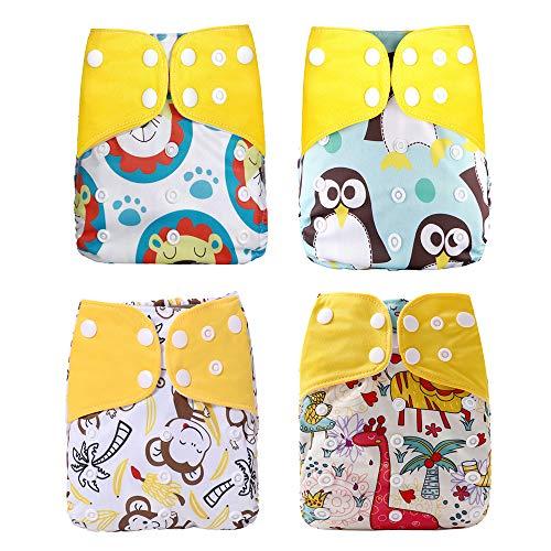Wenosda 4PCS Baby Taschenwindeln Stoffwindel Waschbare wiederverwendbare Windeln Legen Sie eine All-in-One-Taschenwindel für die meisten Babys (Löwe + Pinguin + Affe + Giraffe)