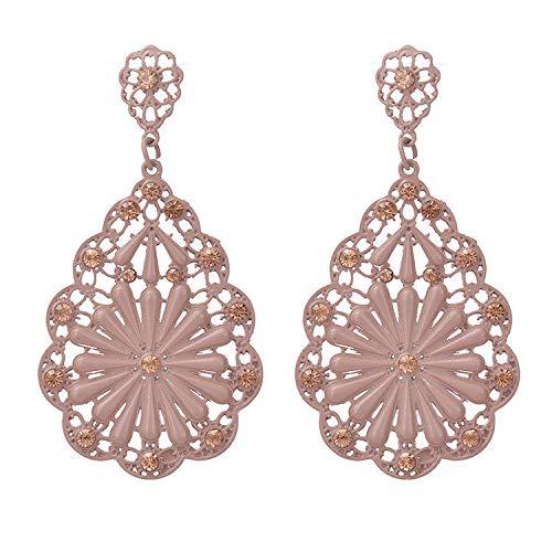 ZRDMN pendientes de botón colgantes joyas de perlas para las mujeres Moda europea y americana Noble en forma de flor de inserción taladro pintado beige Joyería Pendientes