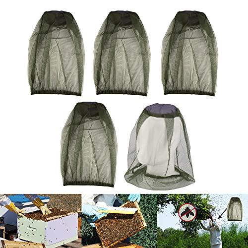 Yisscen Mosquitera de Cabeza,5pcs Anti Mosquitos Red de Cabeza,Control de Insectos al Aire Libre Gorra de Pesca Mosquito Head Net Protección Facial para Camping, Actividades al Aire Libre(Verde)
