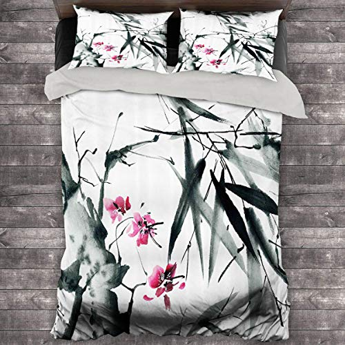 Miles Ralph Traditional House Decor Medium Double Duvet Cover Natural Sacred Bamboo Stems with Cherry Blossom Folk Art Print Quilt Cover and Pillowcase 89'x89' inch Dark Green Fuchsia