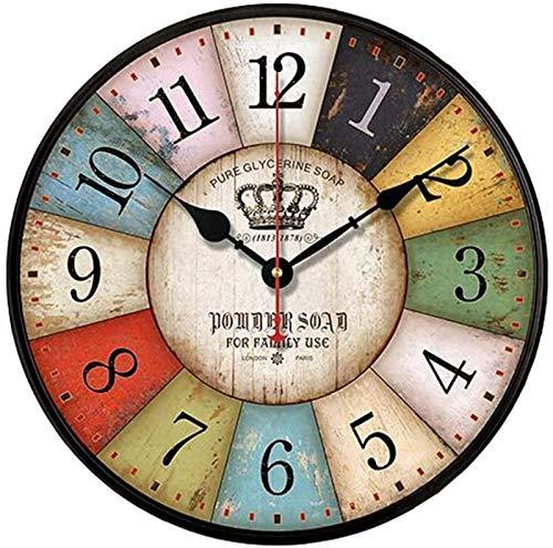 JJDSN Retro Estilo Moderno Reloj Retro Mudo Retro Estilo Romano Reloj de Pared numérico Decoración de Viento Industrial Dormitorio Sala de Estar Bar Batería de Oro