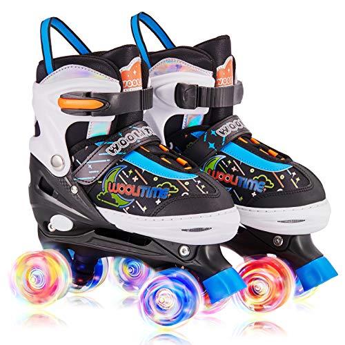Woolitime Adjustable Roller Skates for Girls and Boys, 4 Size Adjustable Toddler Roller Skates for Kids with All Wheels Light Up, Patines para Niñas Niños