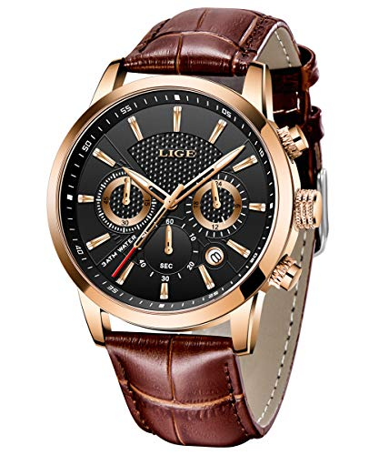 LIGE Herren Uhren Sport Wasserdicht Militäruhr Männer Multifunktions Chronograph Quarz Schwarz Armbanduhren Kalender mit Leder Armband