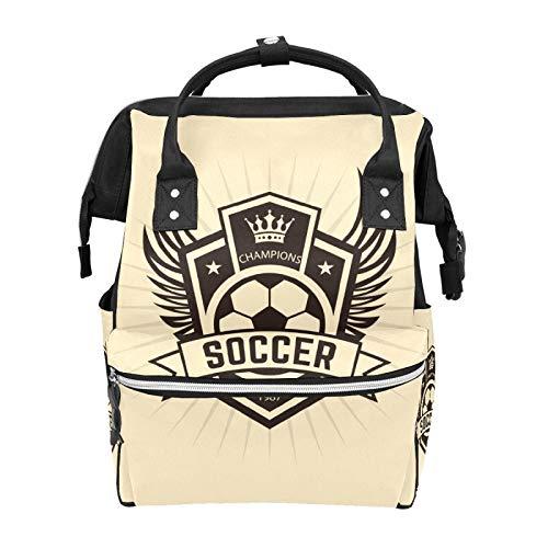 Retro Sprot - Bolsas para pañales de fútbol para momia, gran capacidad, multifunción, mochila para viajes
