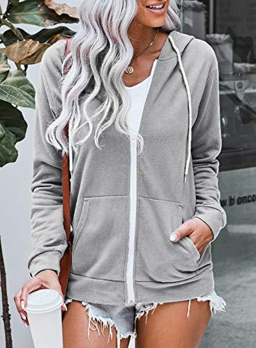 Asvivid Women Zip Up Jackets Hooded Autumn Long Sleeve Loose Fit Sweatshirt Tops